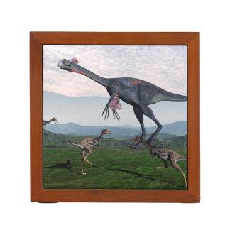 Gigantoraptor and small mononykus dinosaurs - 3D r Desk Organizer