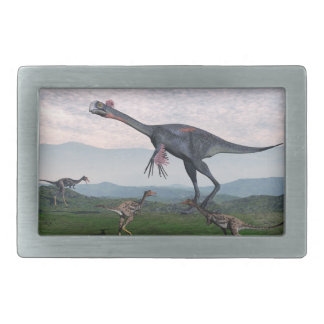 Gigantoraptor and small mononykus dinosaurs - 3D r Rectangular Belt Buckles