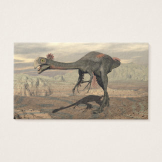 Gigantoraptor dinosaur in the desert - 3D render Business Card