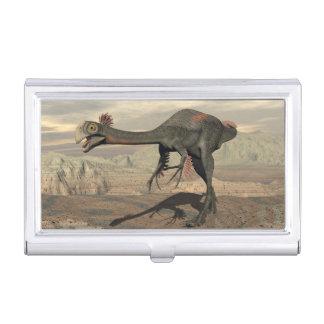 Gigantoraptor dinosaur in the desert - 3D render Business Card Holder