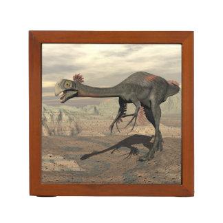 Gigantoraptor dinosaur in the desert - 3D render Desk Organizer