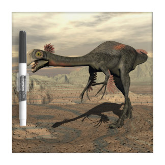Gigantoraptor dinosaur in the desert - 3D render Dry Erase Whiteboard