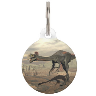 Gigantoraptor dinosaur in the desert - 3D render Pet ID Tag