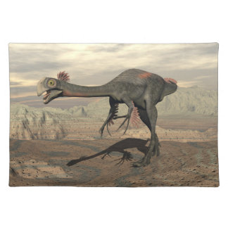 Gigantoraptor dinosaur in the desert - 3D render Placemat
