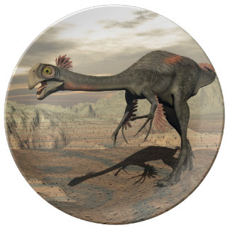 Gigantoraptor dinosaur in the desert - 3D render Plate