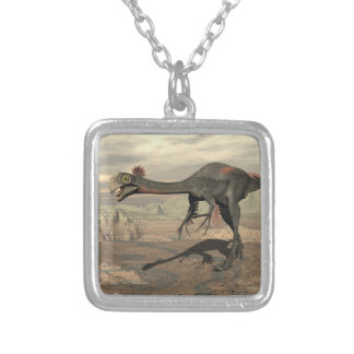 Gigantoraptor dinosaur in the desert - 3D render Silver Plated Necklace
