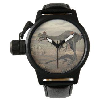 Gigantoraptor dinosaur in the desert - 3D render Wristwatches
