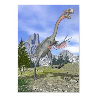Gigantoraptor dinosaur running - 3D render Card