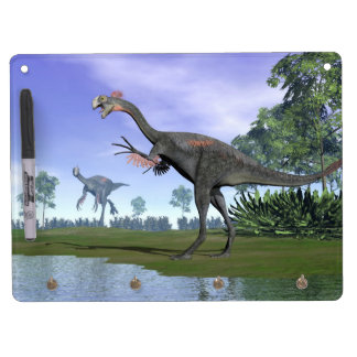 Gigantoraptor dinosaurs in nature - 3D render Dry-Erase Whiteboard