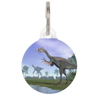 Gigantoraptor dinosaurs in nature - 3D render Pet ID Tag