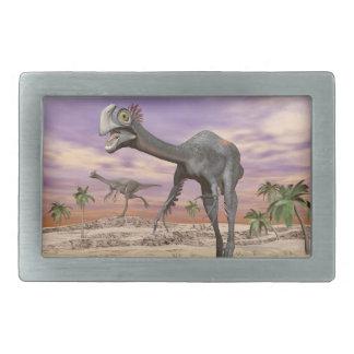 Gigantoraptor dinosaurs in the desert - 3D render Belt Buckle