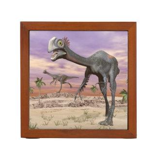 Gigantoraptor dinosaurs in the desert - 3D render Desk Organizer