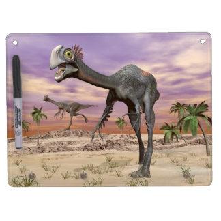 Gigantoraptor dinosaurs in the desert - 3D render Dry-Erase Whiteboard