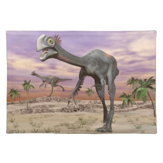Gigantoraptor dinosaurs in the desert - 3D render Placemat