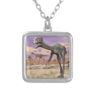 Gigantoraptor dinosaurs in the desert - 3D render Silver Plated Necklace