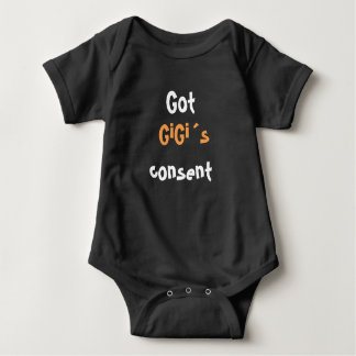 GIGI, GRANNY, GRANDMA CONSENT, BABY INFANT BLACK BABY BODYSUIT