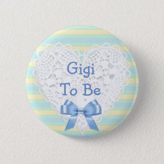 Gigi to be Blue & Orange Baby Shower Button