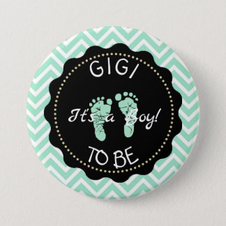 Gigi to be  Green Chevron Baby Shower button