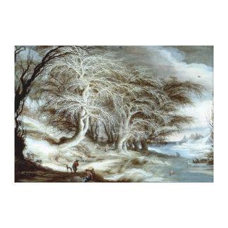 Gijsbrecht Leytens: A Winter Landscape Stretched Canvas Prints