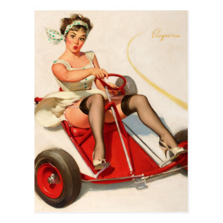 GIL ELVGREN Curving Around Pin Up Art Postcard