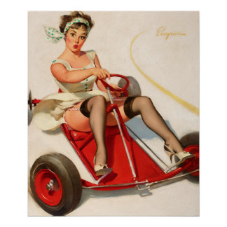 GIL ELVGREN Curving Around Pin Up Art Poster