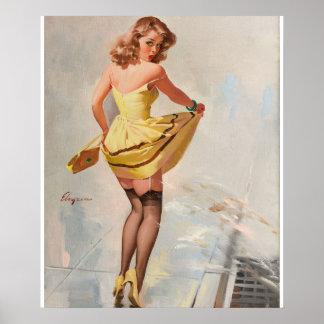 GIL ELVGREN Dampened Doll Pin Up Art Poster