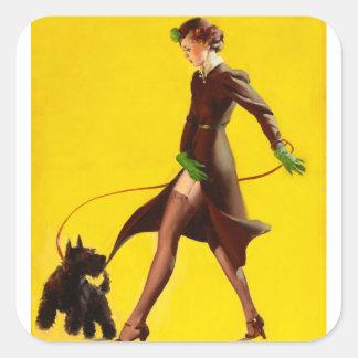 GIL ELVGREN Man's Best Friend Pin Up Art Square Sticker
