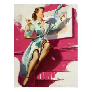 GIL ELVGREN Pretty Cagey, 1953 Pin Up Art Postcard