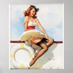 GIL ELVGREN Sailor Girl, 1970s Pin Up Art Poster