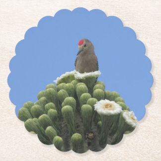 Gila Woodpecker on Saguaro Blooms Paper Coaster