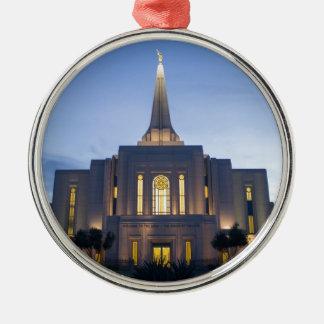 GIlbert Arizona LDS Temple Silver-Colored Round Ornament