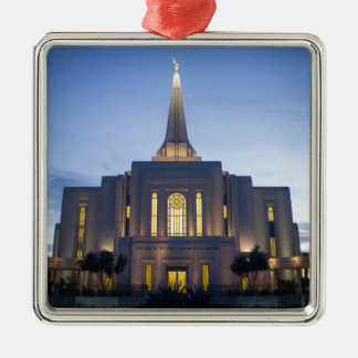GIlbert Arizona LDS Temple Silver-Colored Square Ornament