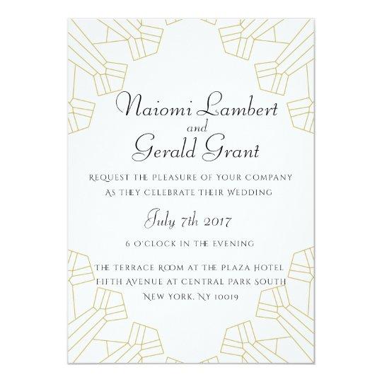 Gilded Age wedding invitation white