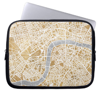 Gilded City Map Of London Laptop Sleeve