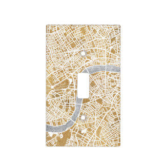 Gilded City Map Of London Light Switch Cover
