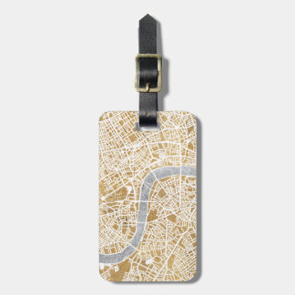Gilded City Map Of London Luggage Tag
