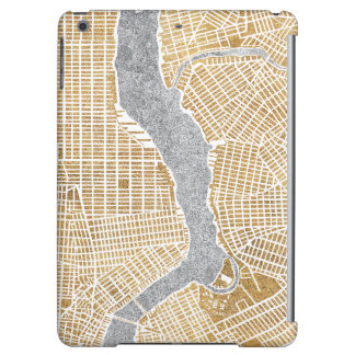 Gilded City Map Of New York iPad Air Covers