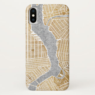 Gilded City Map Of New York iPhone X Case