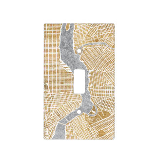 Gilded City Map Of New York Light Switch Cover