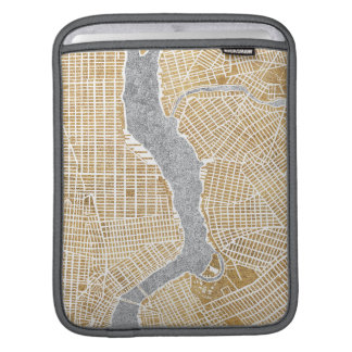 Gilded City Map Of New York Sleeve For iPads