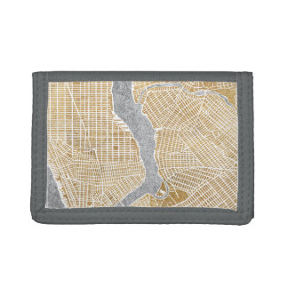 Gilded City Map Of New York Trifold Wallet