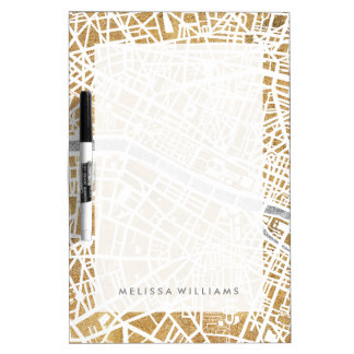 Gilded City Map Of Paris Dry Erase Board