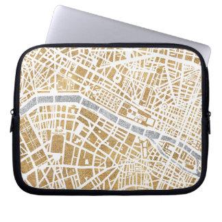Gilded City Map Of Paris Laptop Sleeve