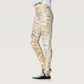 Gilded City Map Of Paris Leggings