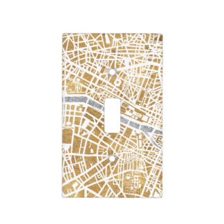 Gilded City Map Of Paris Light Switch Cover