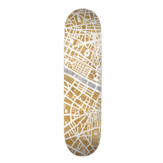 Gilded City Map Of Paris Skateboard