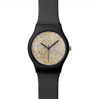 Gilded City Map Of Paris Wrist Watch