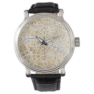Gilded City Map Of Paris Wrist Watches