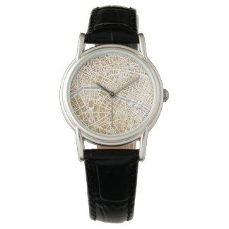 Gilded City Map Of Paris Wristwatch