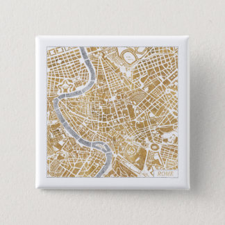Gilded City Map Of Rome 2 Inch Square Button